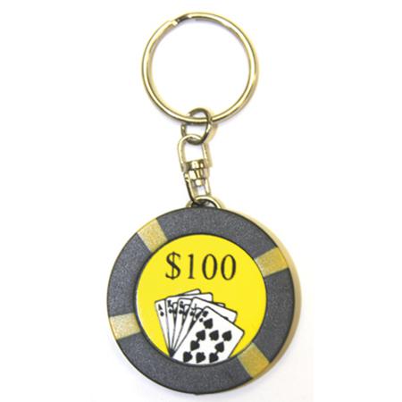 Flashlight Poker Chip Keychain